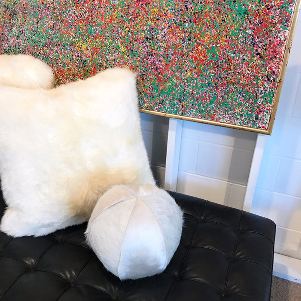 "Ivory Cowhide Ball Pillow 12"" - FORSYTH"