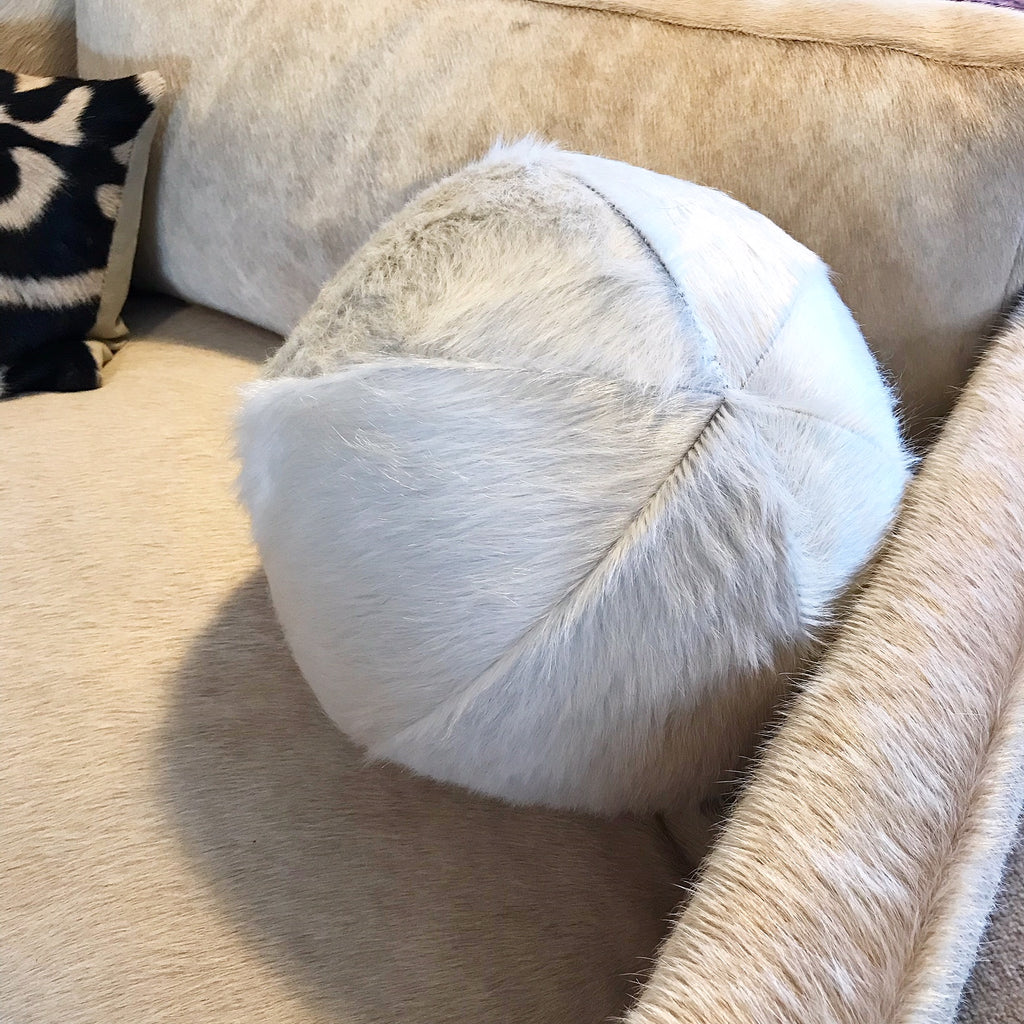 "Natural Ivory Cowhide Ball Pillow 12"" - FORSYTH"