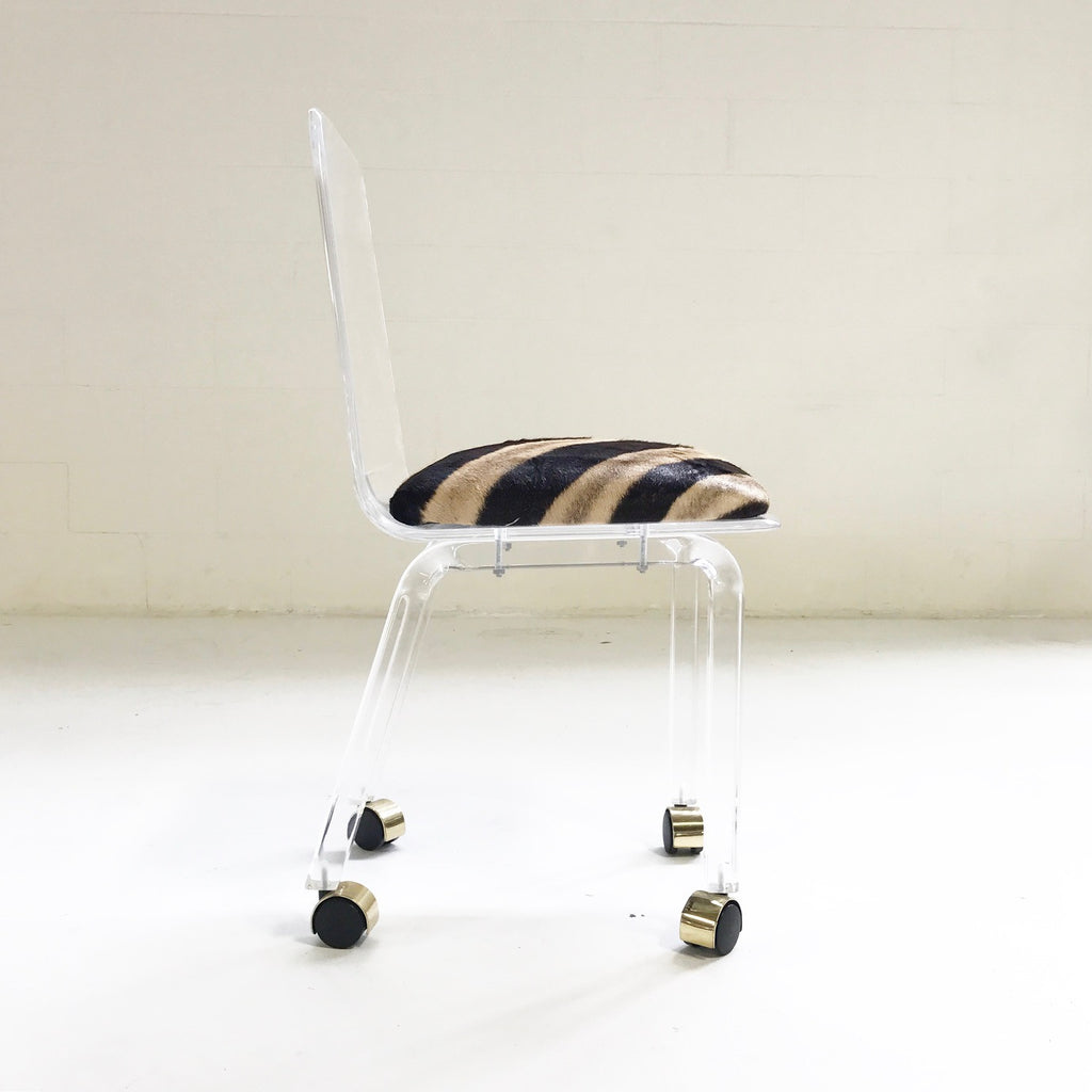 Lucite Desk Chair on Wheels in Zebra Hide - FORSYTH