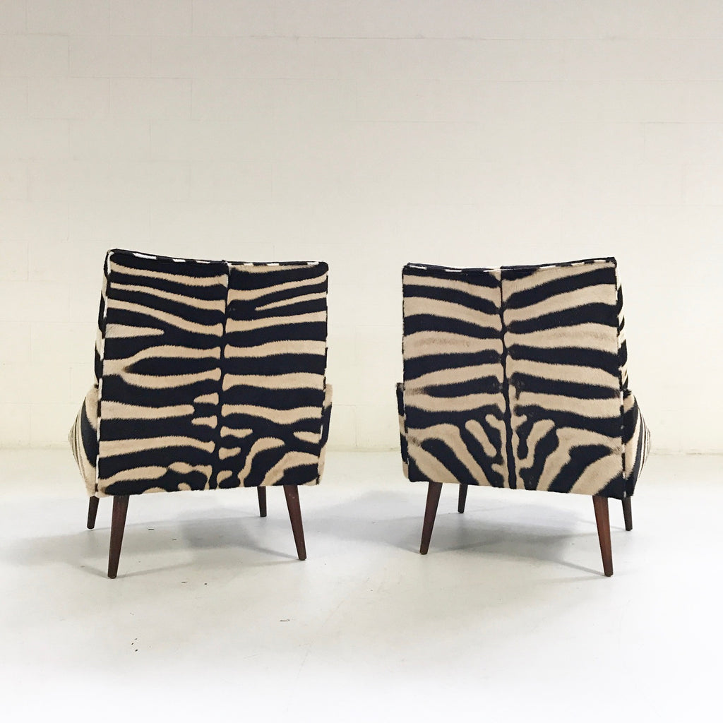 Adrian Pearsall Style Lounge Chairs in Zebra Hide - Pair