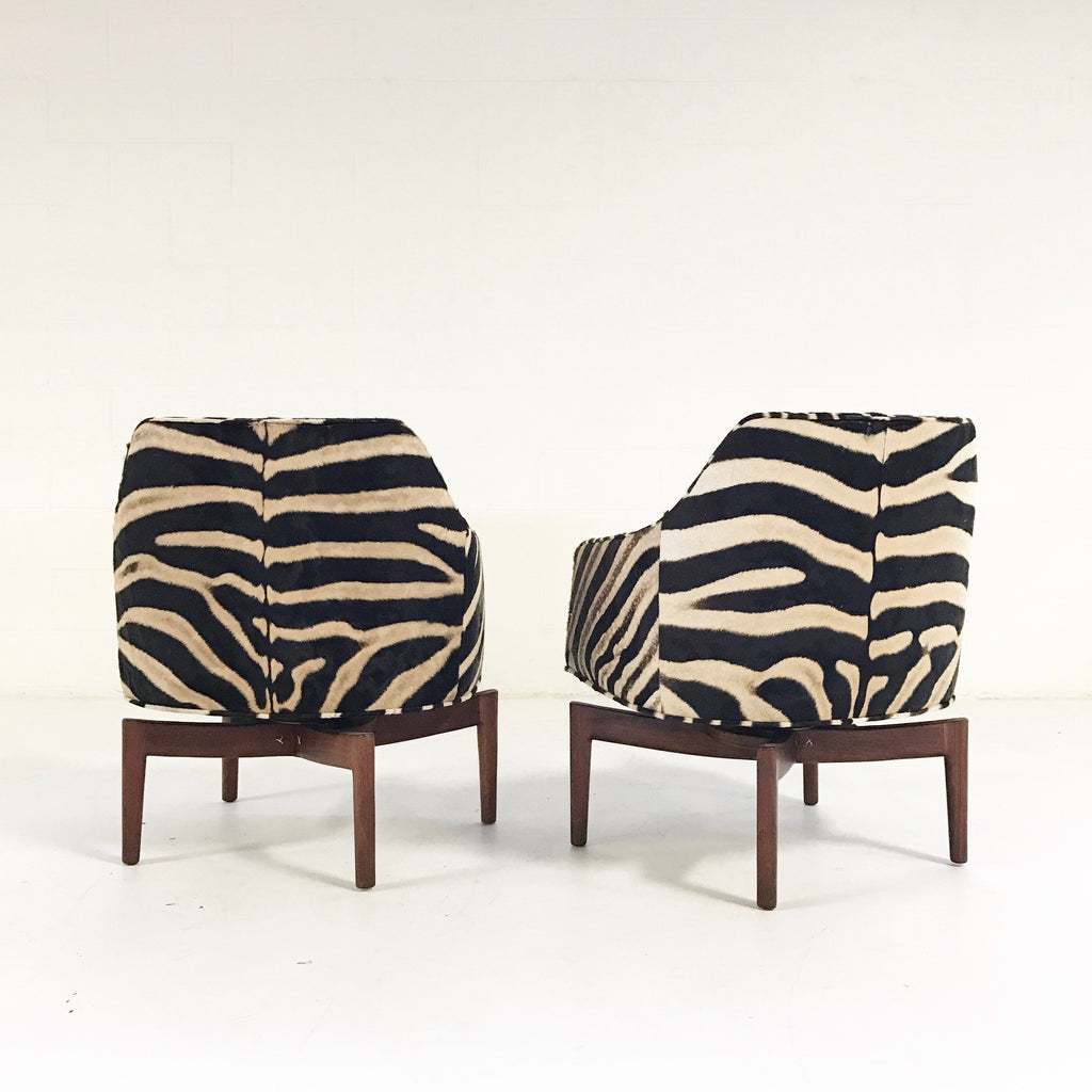 Jens Risom Walnut Base Swivel Chairs in Zebra Hide - Pair - FORSYTH