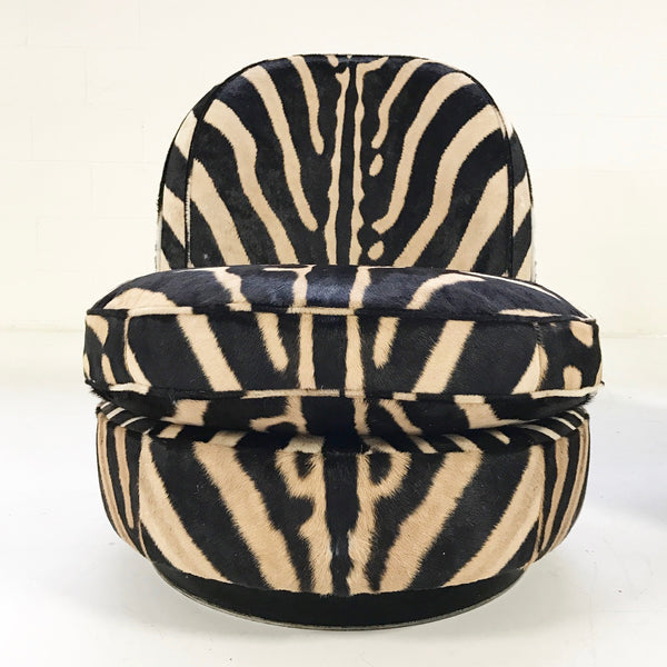 Swivel Tilt Slipper Chairs in Zebra Hide, pair - FORSYTH