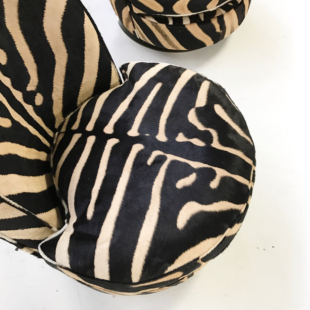 Milo Baughman Swivel Tilt Slipper Chairs in Zebra Hide - Pair - FORSYTH