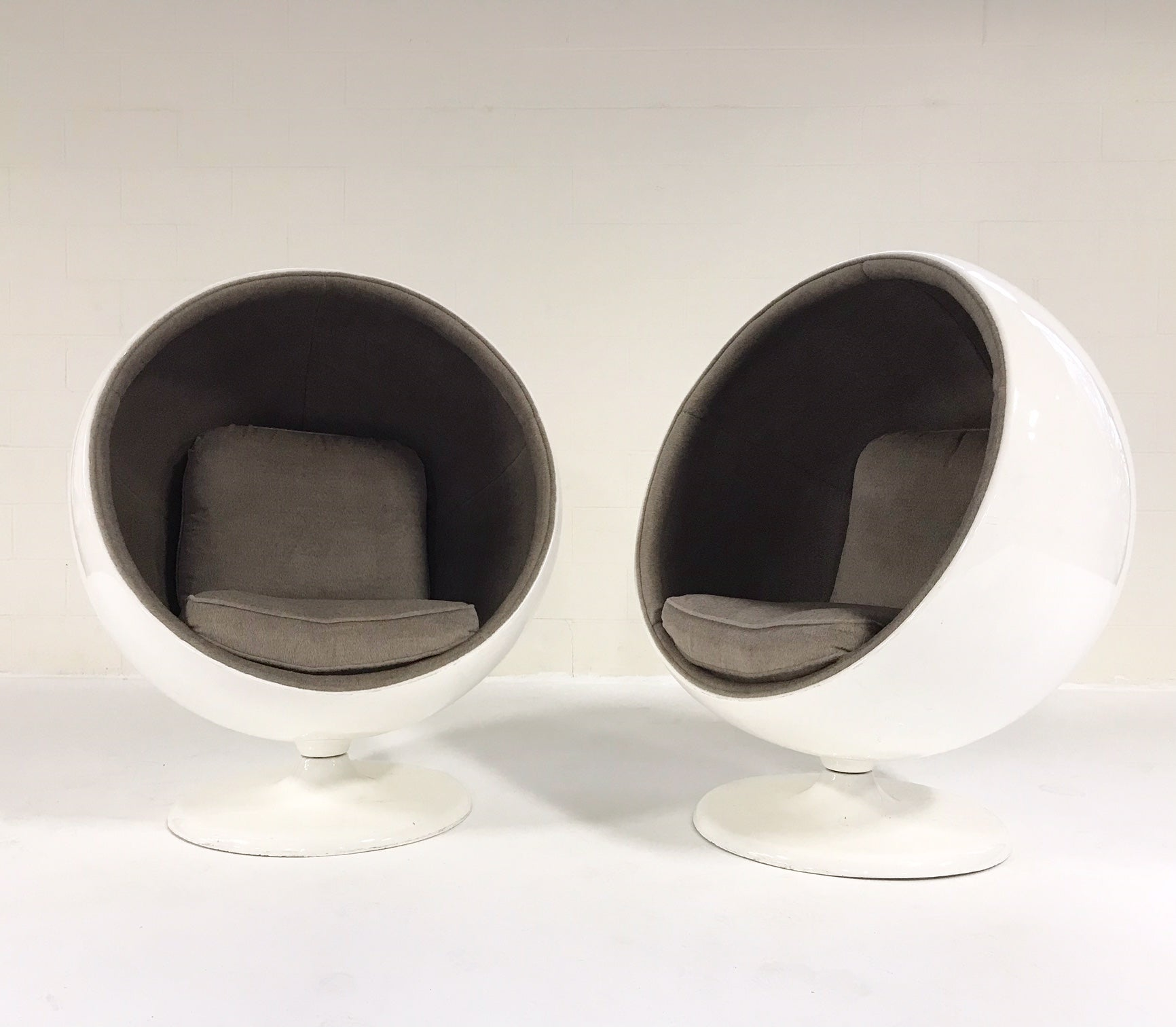 Ball Chairs in Loro Piana Alpaca Wool, pair - FORSYTH