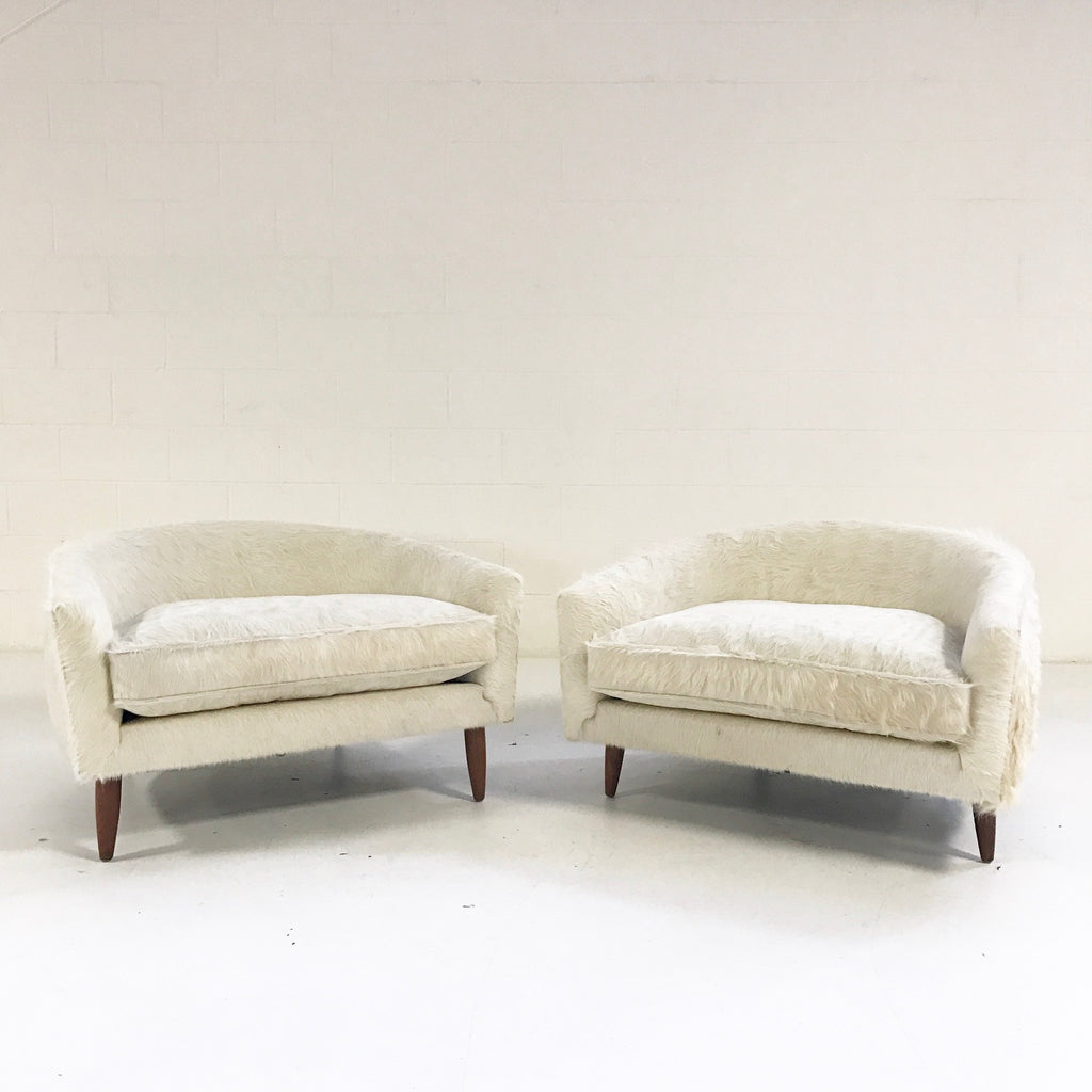 Adrian Pearsall Cloud Chairs for Craft Associates in Ivory Cowhide - Pair