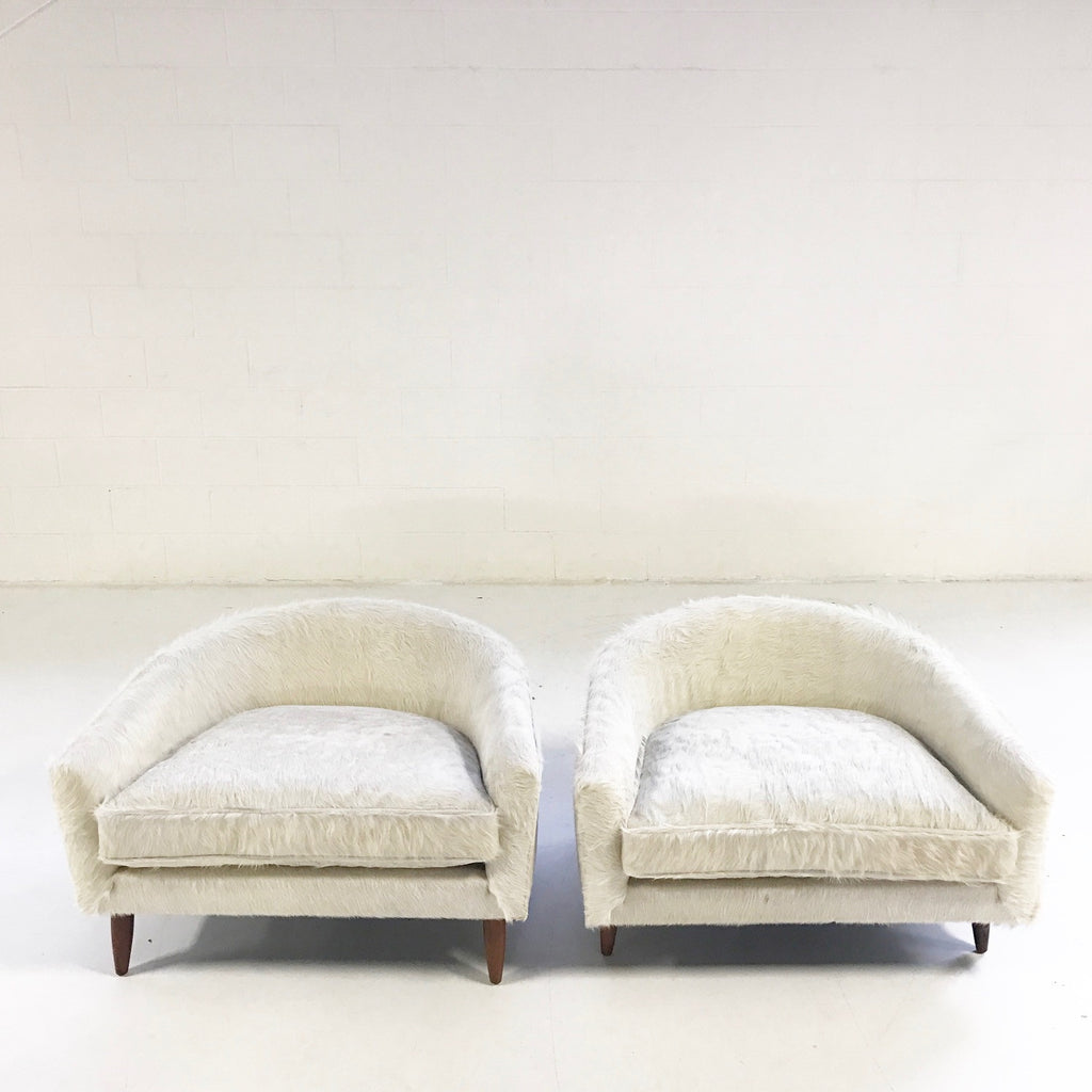 Adrian Pearsall Cloud Chairs for Craft Associates in Ivory Cowhide - Pair - FORSYTH