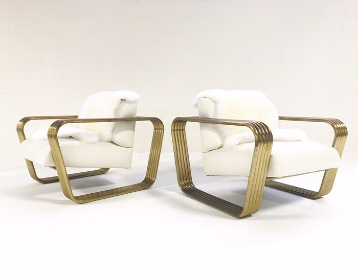 Vintage c. 1975 Jay Spectre Lounge Chairs with New Zealand Sheepskin Throws - Pair