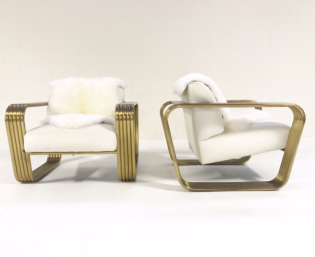 Vintage c. 1975 Jay Spectre Lounge Chairs with New Zealand Sheepskin Throws - Pair - FORSYTH