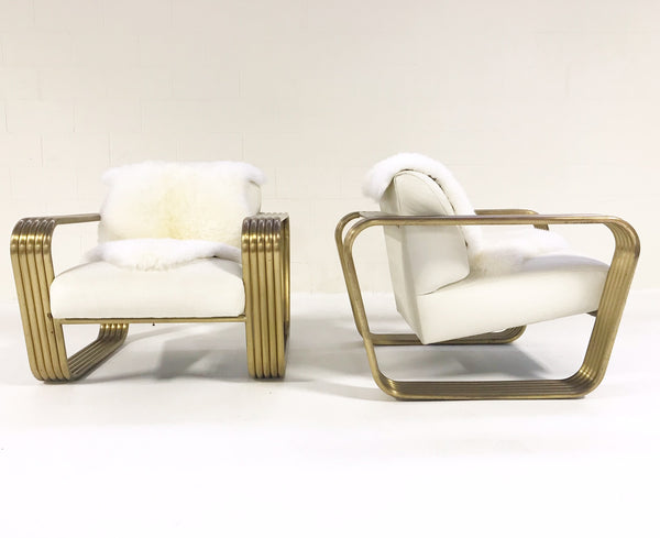 Lounge Chairs with New Zealand Sheepskins, pair - FORSYTH
