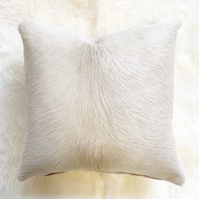 "IVORY BRAZILIAN COWHIDE PILLOW 18"" - FORSYTH"