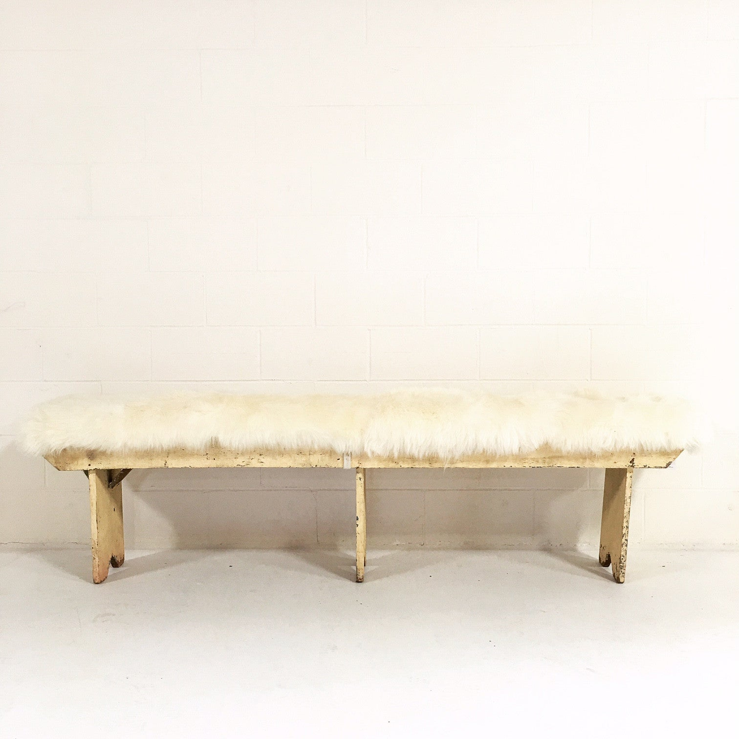 Farmhouse Bench with Sheepskin Cushion - FORSYTH