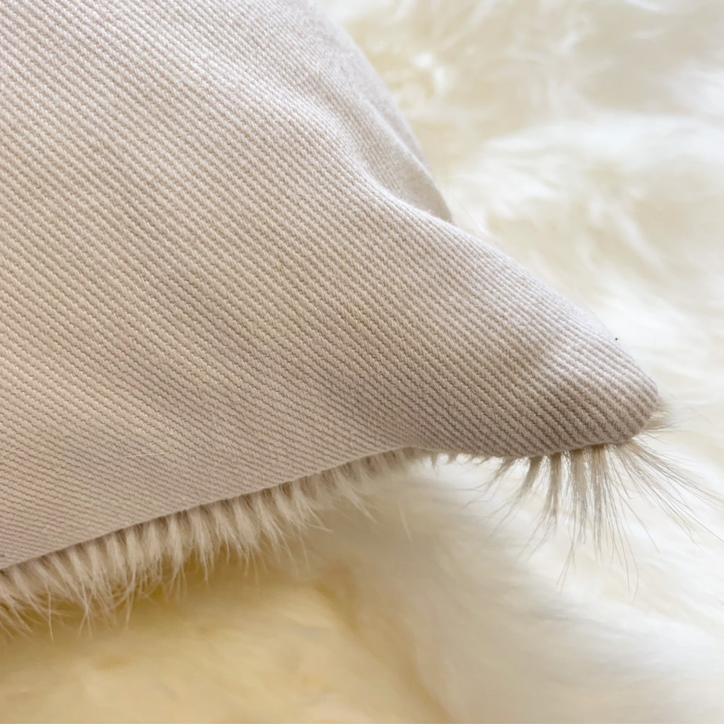 "IVORY BRAZILIAN COWHIDE PILLOW 13x21"" - FORSYTH"