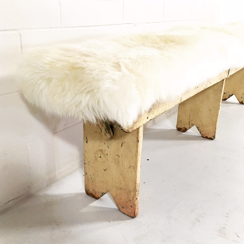 VINTAGE WALNUT FARMHOUSE BENCH WITH SHEEPSKIN CUSHION - FORSYTH