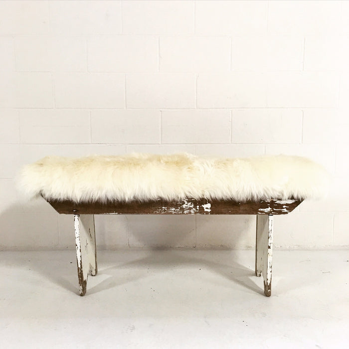 VINTAGE WHITE PINE FARMHOUSE BENCH WITH SHEEPSKIN CUSHION - FORSYTH