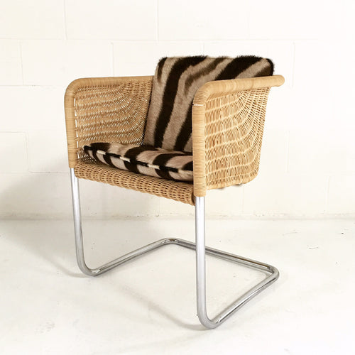 Wicker Chair with Zebra Cushions - FORSYTH