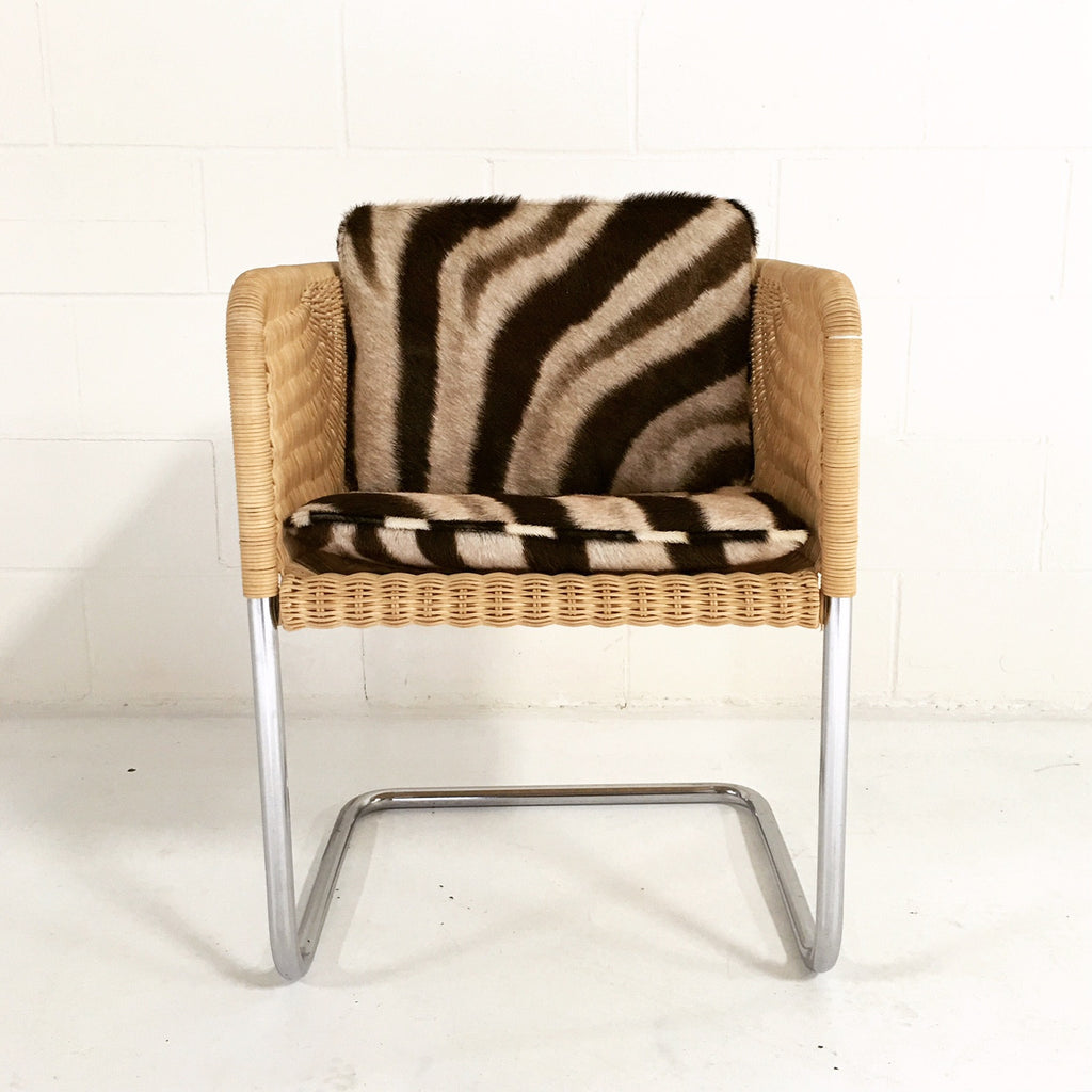 HARVEY PROBBER WICKER AND CHROME CHAIR WITH Custom ZEBRA CUSHIONs - FORSYTH