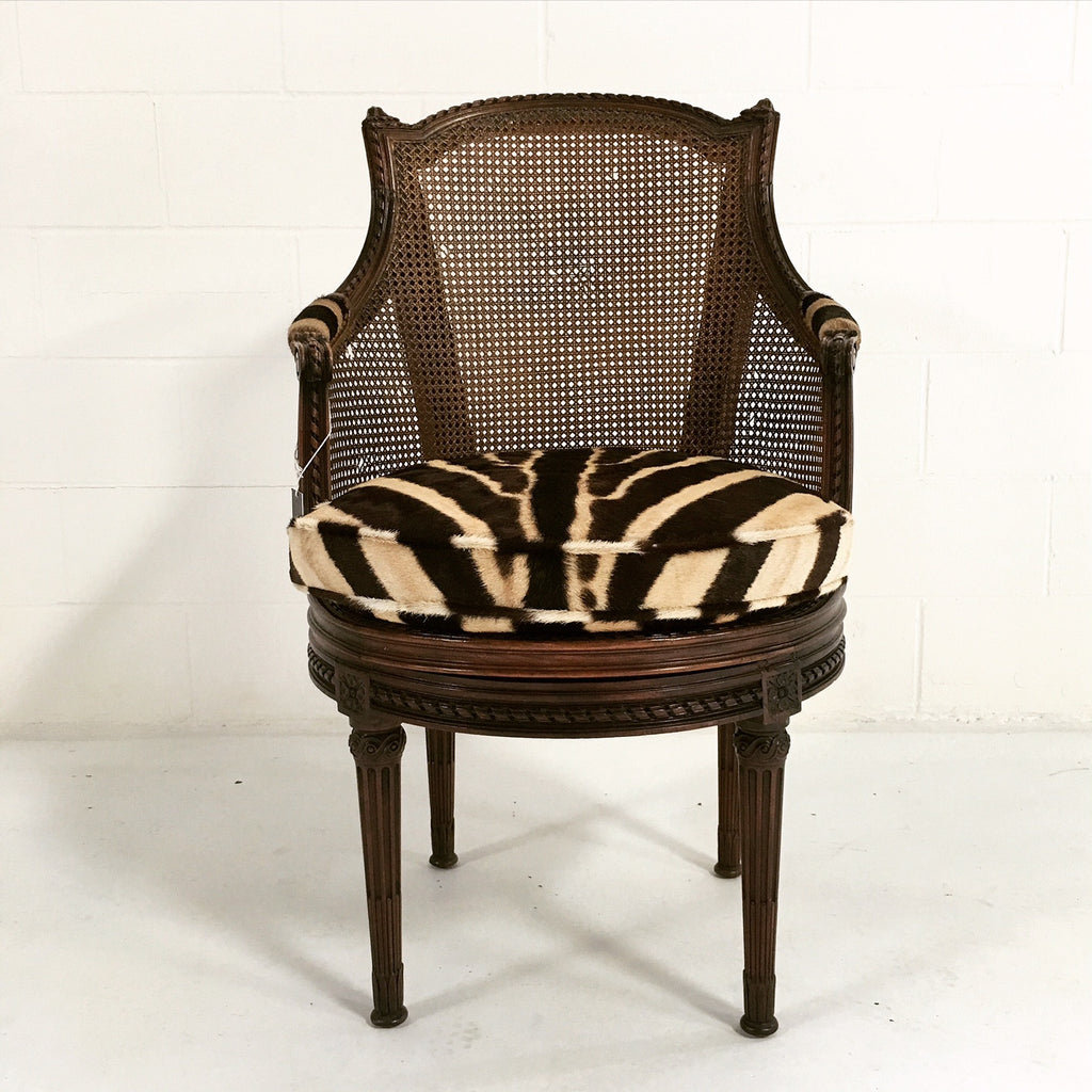 18th Century G. Jacob Mahogany & Cane Bergere Swivel Chair in Zebra Hide - FORSYTH