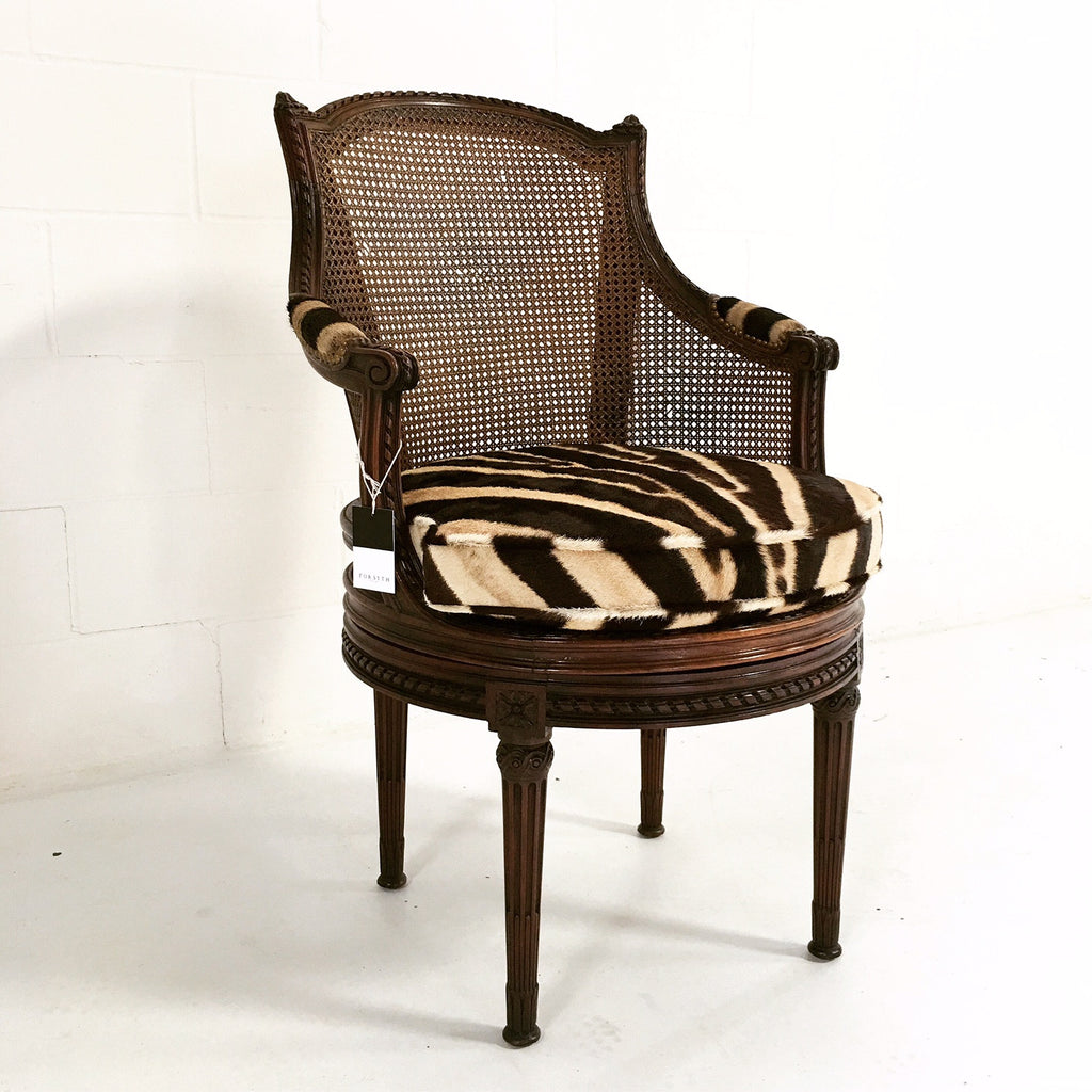 Gentil 18th Century G. Jacob Mahogany U0026 Cane Bergere Swivel Chair In Zebra Hide    FORSYTH