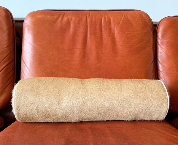 "Palomino Cowhide Bolster Pillow, 20"" - FORSYTH"