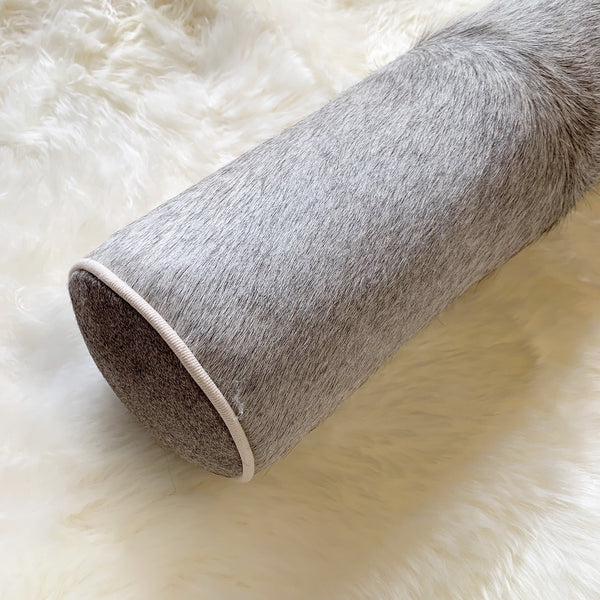 "Salt and Pepper Cowhide Bolster Pillow, 20"" - FORSYTH"