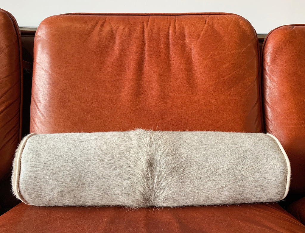 "SALT AND PEPPER BRAZILIAN COWHIDE BOLSTER PILLOW 20"" - FORSYTH"