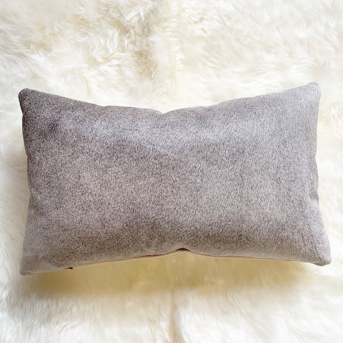 "SALT AND PEPPER BRAZILIAN COWHIDE PILLOW 13x21"" - FORSYTH"