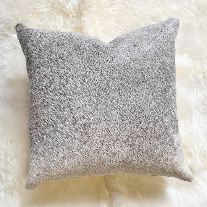 "SALT AND PEPPER BRAZILIAN COWHIDE PILLOW 18"" - FORSYTH"