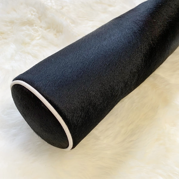 "Black Cowhide Bolster Pillow, 20"" - FORSYTH"