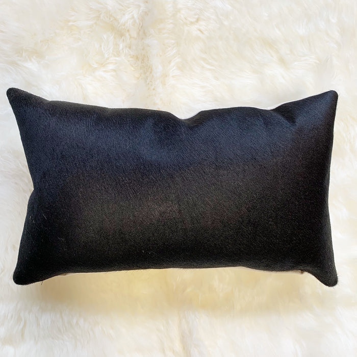 "BLACK BRAZILIAN COWHIDE PILLOW 13x21"" - FORSYTH"