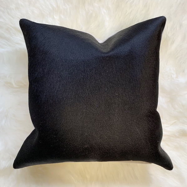 "Black Cowhide Pillow, 18"" - FORSYTH"