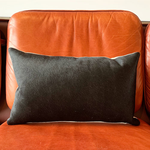 "Black Cowhide Pillow, 21x13"" - FORSYTH"