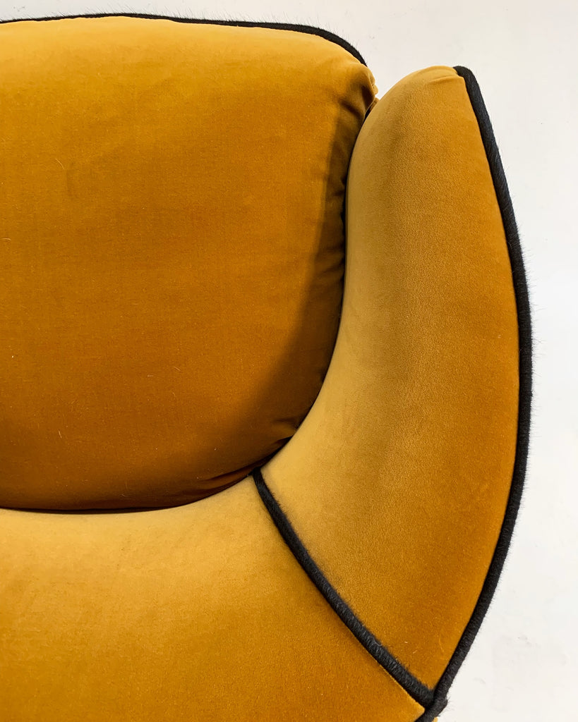 Vintage Milo Baughman Lounge Chairs Restored in Loro Piana Velvet with Brazilian Cowhide Welting - FORSYTH
