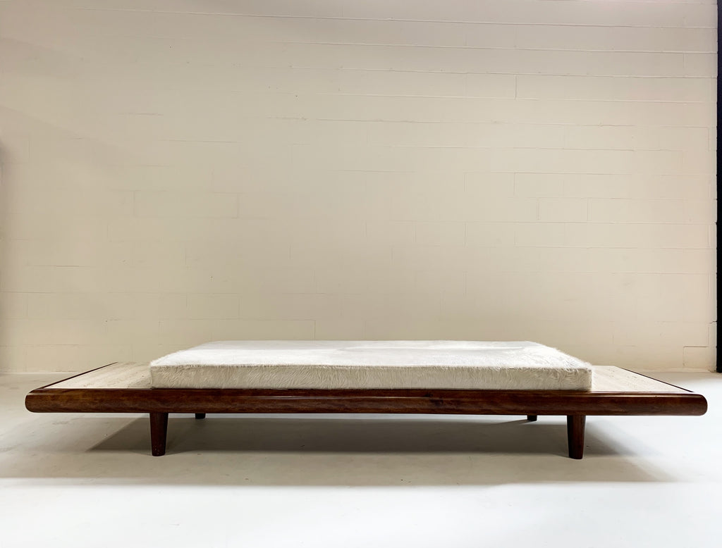 Vintage Adrian Pearsall Style Walnut and Travertine Daybed Sofa with Custom Brazilian Ivory Cowhide Cushion - FORSYTH