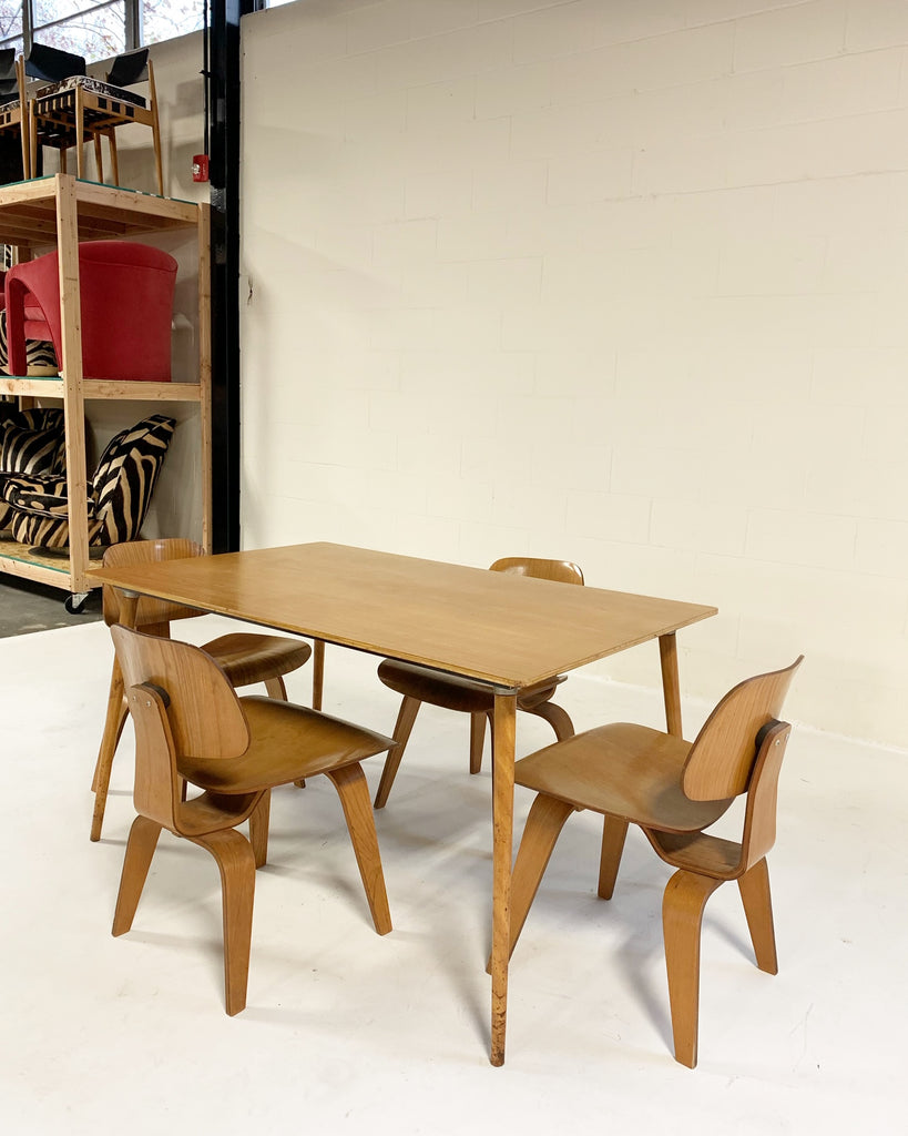 Vintage c. 1950 Charles and Ray Eames for Herman Miller DTW-3 Table and Set of 4 DCW Dining Chairs - FORSYTH