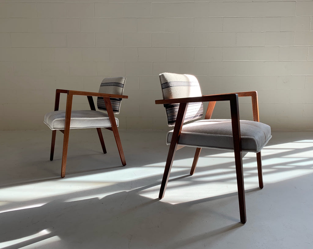 Franco Albini for Knoll Model 48 Chairs Restored in Ivory Calfskin and Isabel Marant Ivory Silk Wool - Pair - FORSYTH