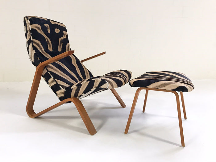 Eero Saarinen for Knoll Grasshopper Chair and Ottoman in Zebra Hide