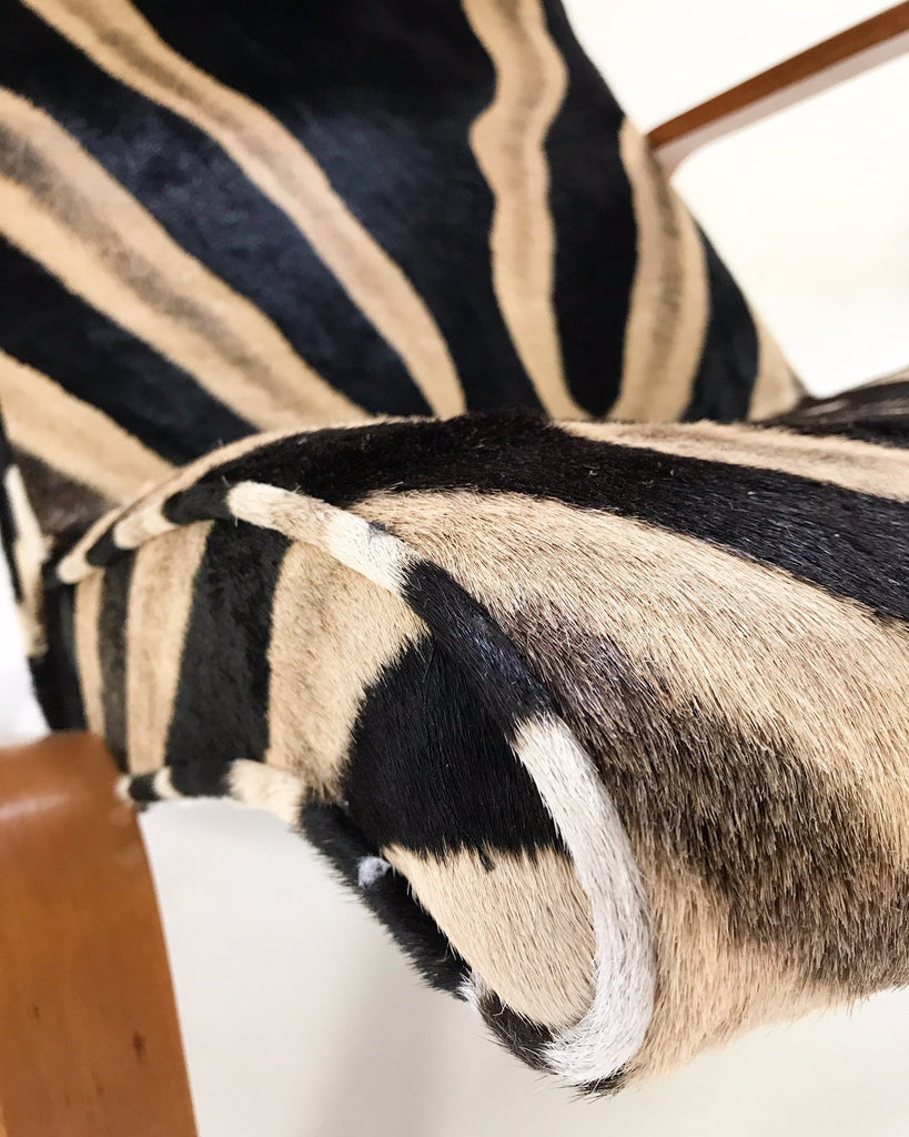 Eero Saarinen for Knoll Grasshopper Chair and Ottoman in Zebra Hide - FORSYTH
