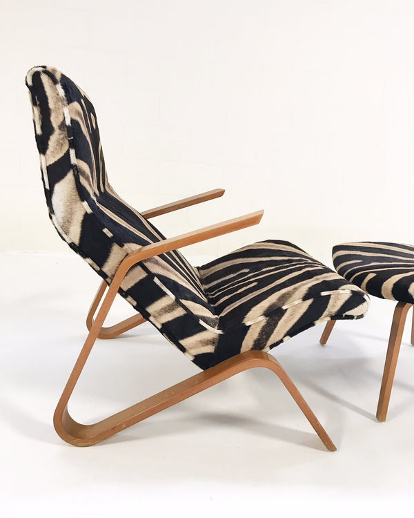 Grasshopper Chair and Ottoman in Zebra Hide - FORSYTH