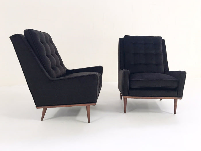 Milo Baughman for James Inc Lounge Chairs in Loro Piana Alpaca and Virgin Wool - Pair
