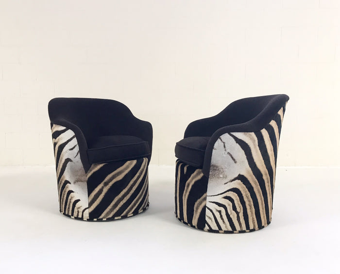John Saladino for Dunbar Petal Chairs in Loro Piana Alpaca and Virgin Wool and Zebra Hide - Pair