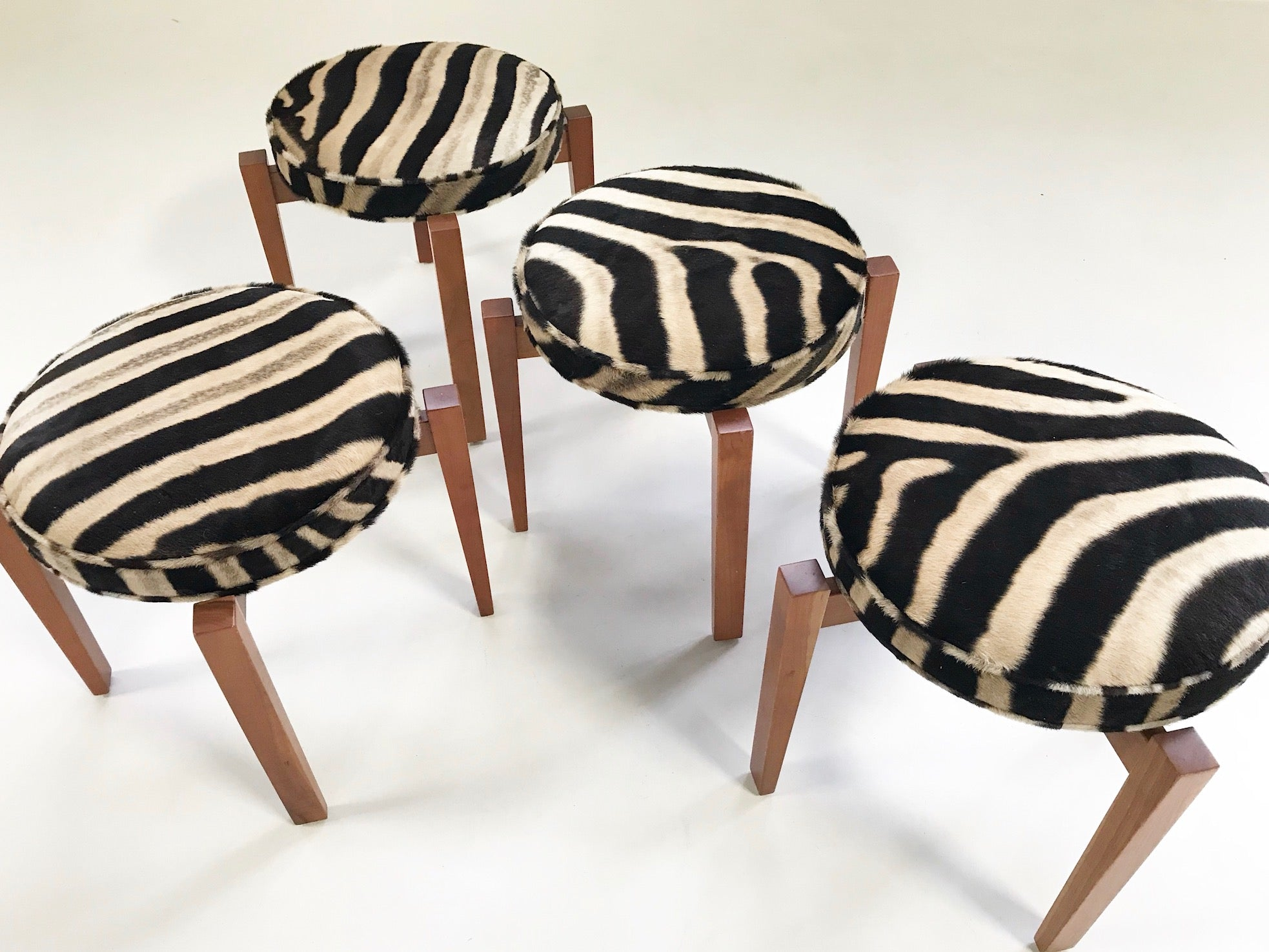 Stools in Zebra Hide, set of 4 - FORSYTH
