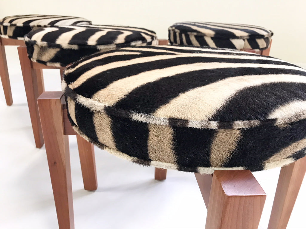 Jens Risom for Ralph Pucci Glasshouse Bench Stools in Zebra Hide - Set of 4 - FORSYTH