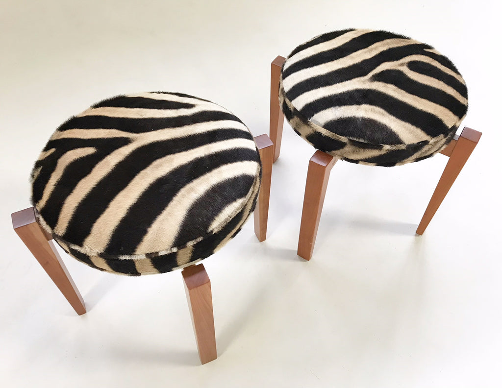 Jens Risom for Ralph Pucci Glasshouse Bench Stools in Zebra Hide - Pair - FORSYTH