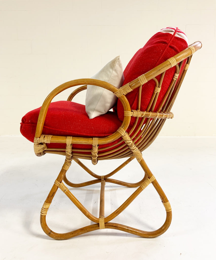 Rattan Chair in the Style of Franco Albini Restored with Custom Isabel Marant Silk Wool Cushions - FORSYTH