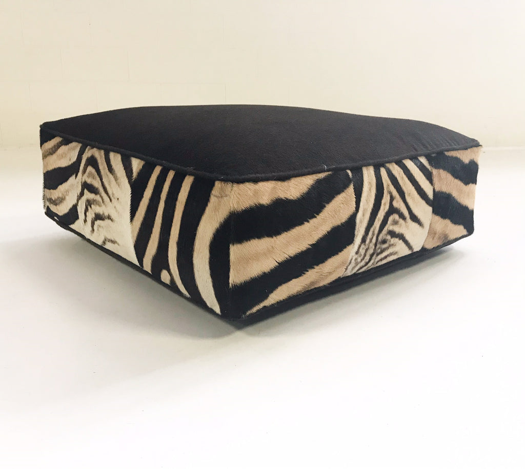Extra Large Floor Pillow in Loro Piana Alpaca and Virgin Wool and Zebra Hide - FORSYTH