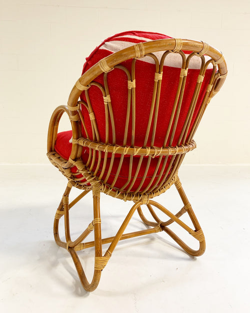 Rattan Chair with Isabel Marant Silk Wool Cushions - FORSYTH