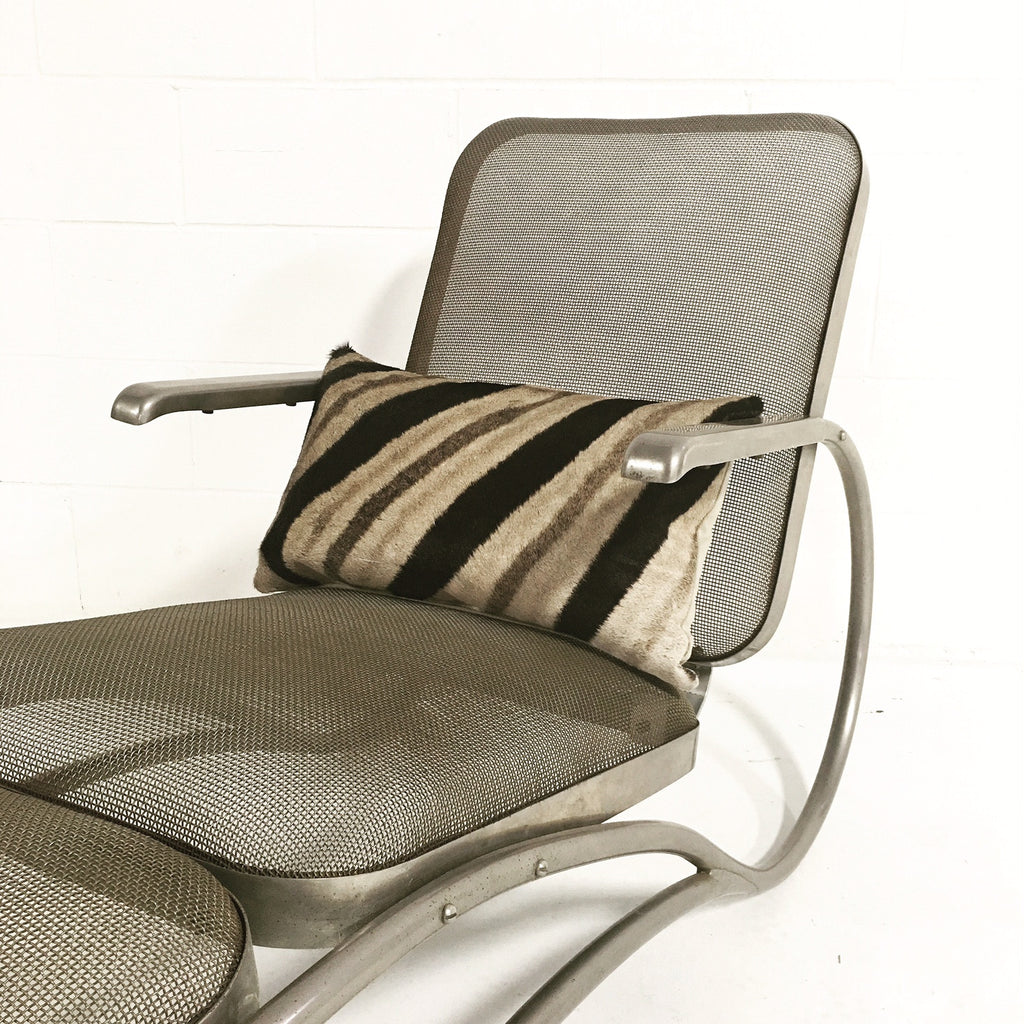 Vintage Midcentury Iron Mesh Chaise Lounge with Zebra Hide Pillow and Cowhide Ball - FORSYTH