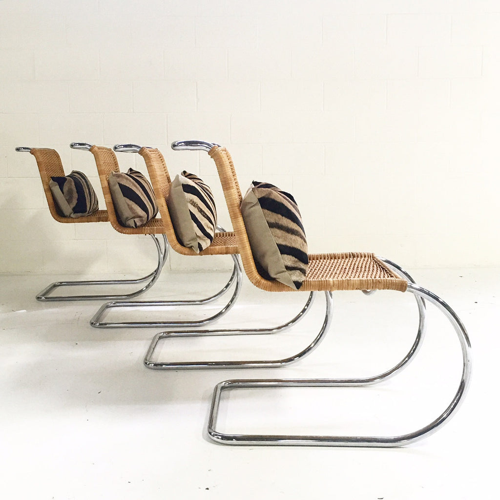 Set of Four MR 10 Side Chairs by Ludwig Mies van der Rohe for Knoll with Zebra Hide Pillows - FORSYTH