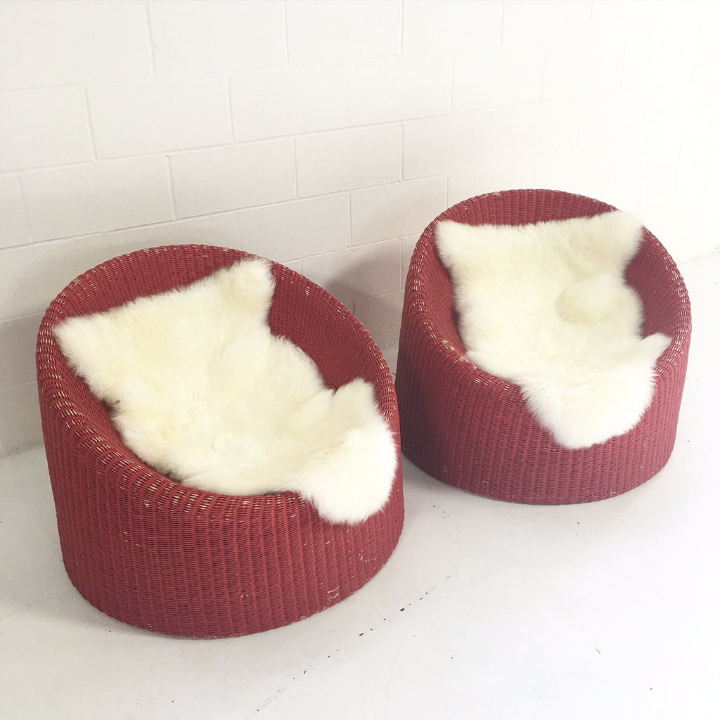 PAIR of EERO AARNIO FOR STENDIG WOVEN RATTAN LOUNGE CHAIRS WITH SHEEPSKIN THROWS - FORSYTH