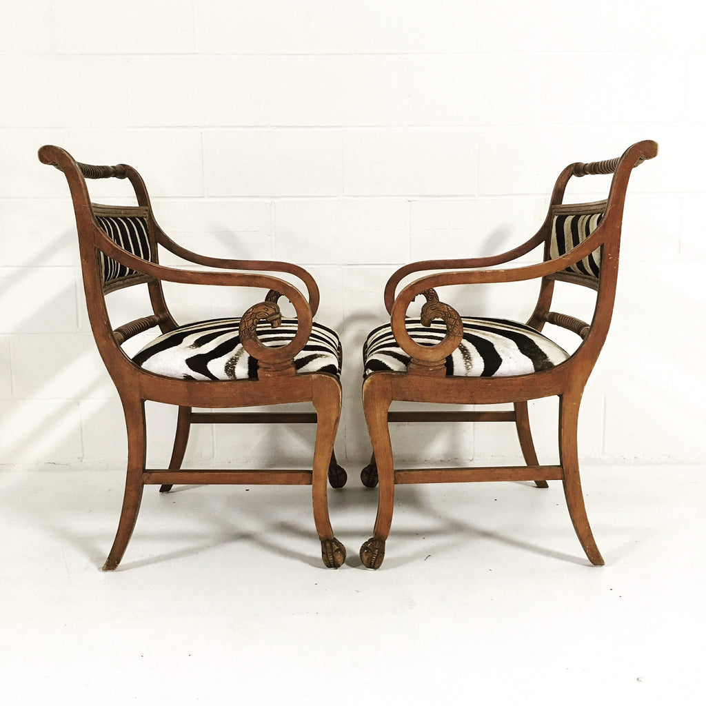PAIR OF VINTAGE CARVED ARMCHAIRS IN ZEBRA HIDE - FORSYTH